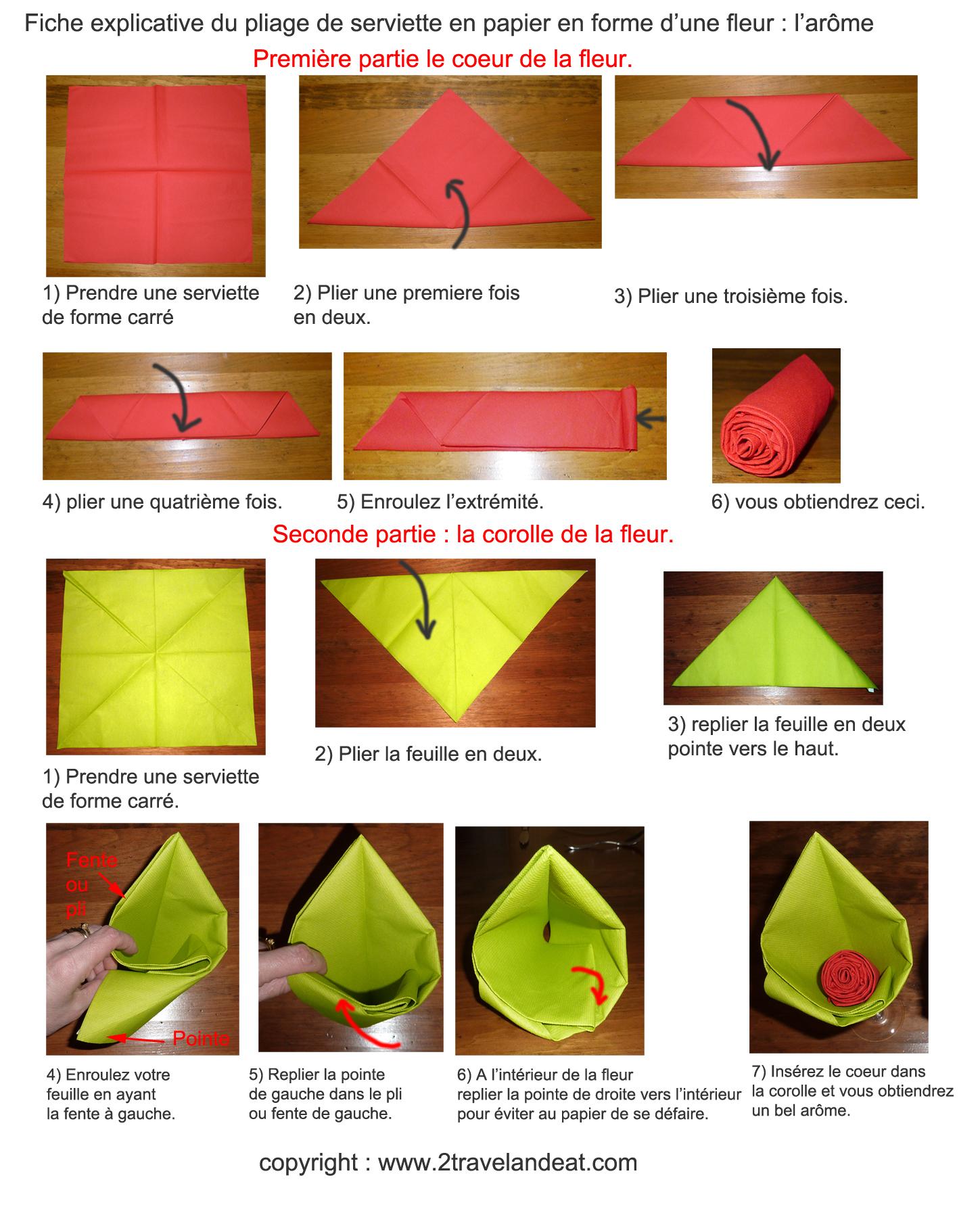 Explication pliage serviette 2 couleurs - Pliage de serviette en papier 2 couleurs ...