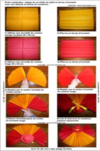 Pliage de serviette de table en forme d 39 ventail avec son sombrero r ali - Art de plier les serviettes ...