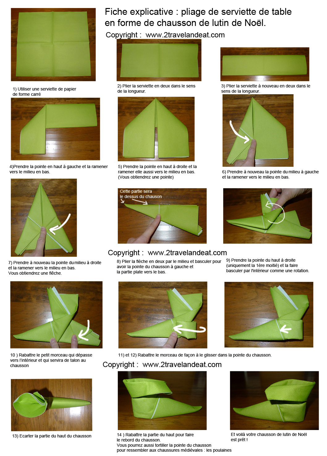 Pliage de serviettes papiers on pinterest napkins lotus for Pliage deco noel