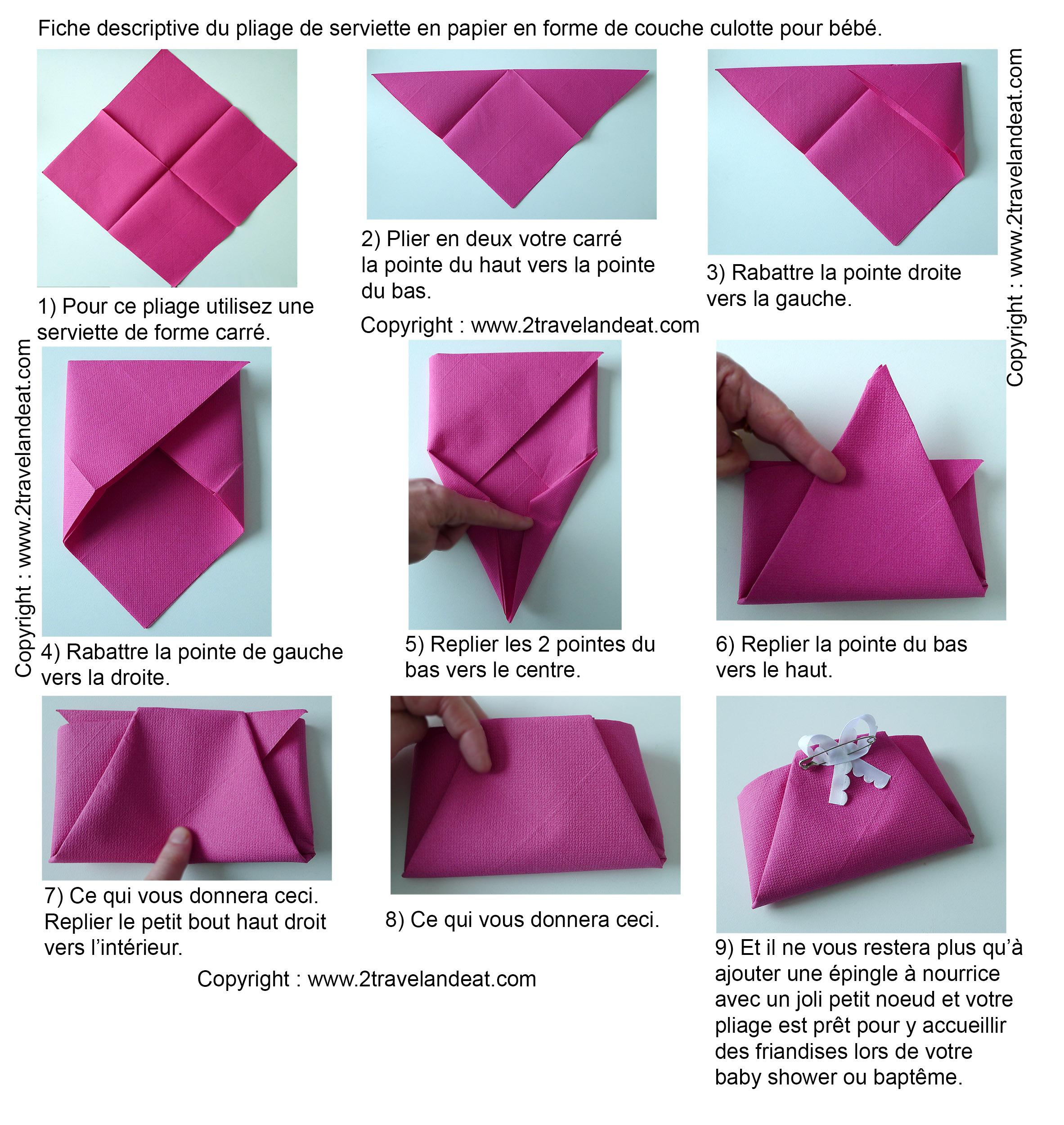 explicative pour le pliage de serviette en papier en forme de lotus