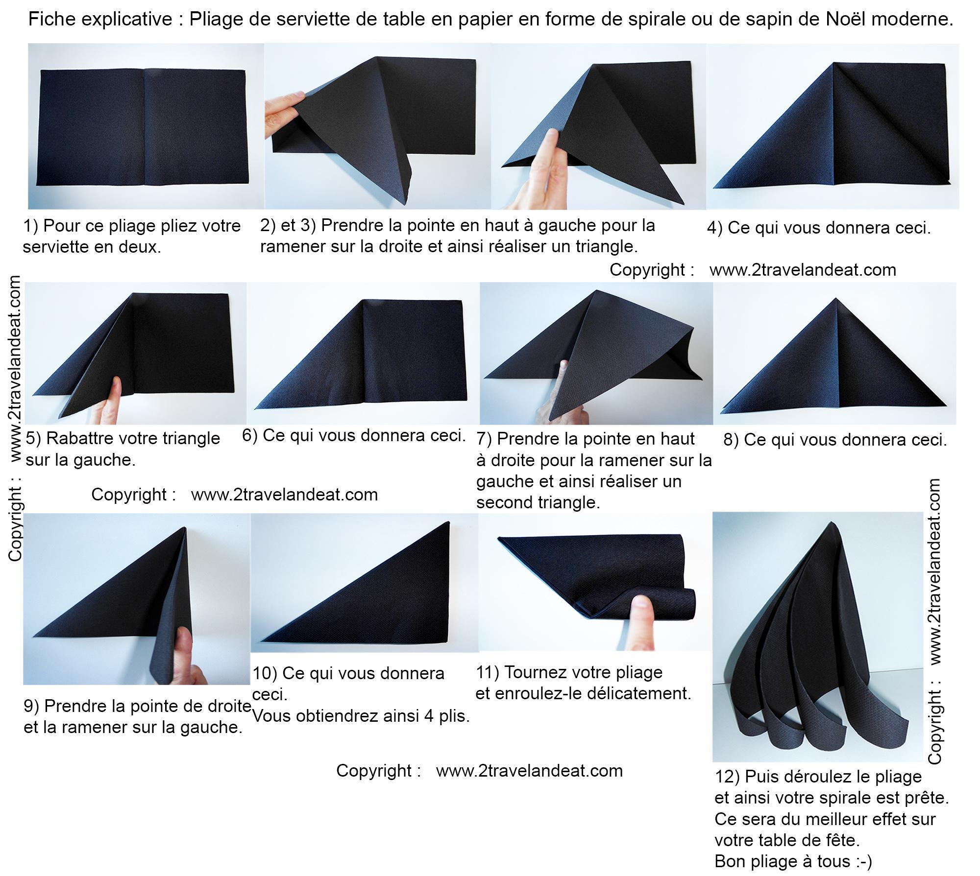 Pliage de serviette de table en forme de spirale ou de sapin de no l moderne - L art de plier les serviettes de table ...