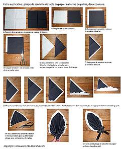 Pliage de serviettes de table en papier pliage de papier origami deocratio - Pliage serviette forme feuille ...