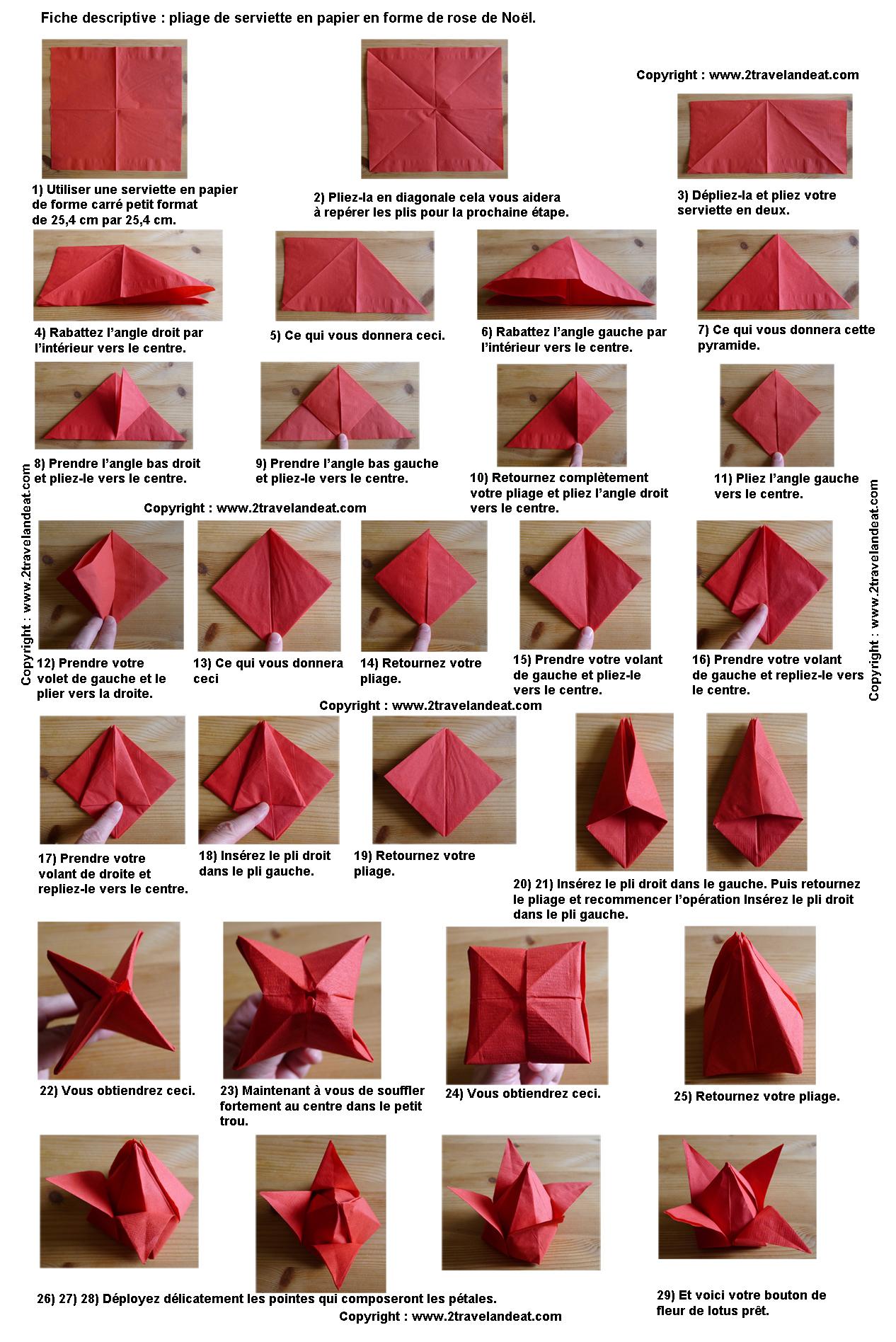 Pliage En Papier Realiser Un Poinsettia Avec Une Serviette En Papier