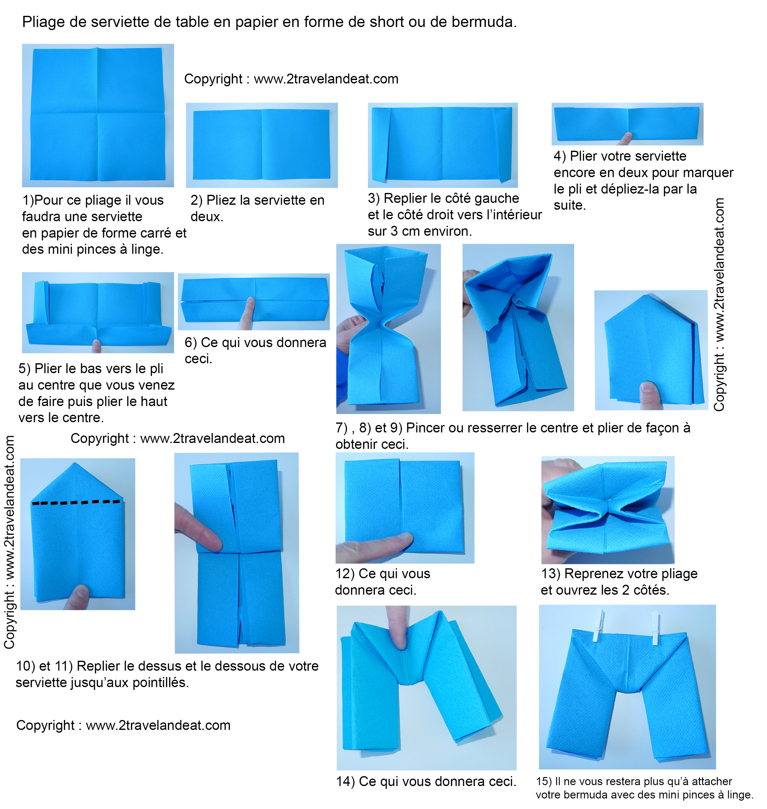 Pliage de serviette de table en forme de bateau de cale on ou short ou de bermuda r aliser un - Pliage serviette bateau ...