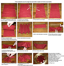 Pliage en papier r aliser un poinsettia avec une serviette en papier decoration de table de for Pliage de serviette en papier facile et rapide pour noel
