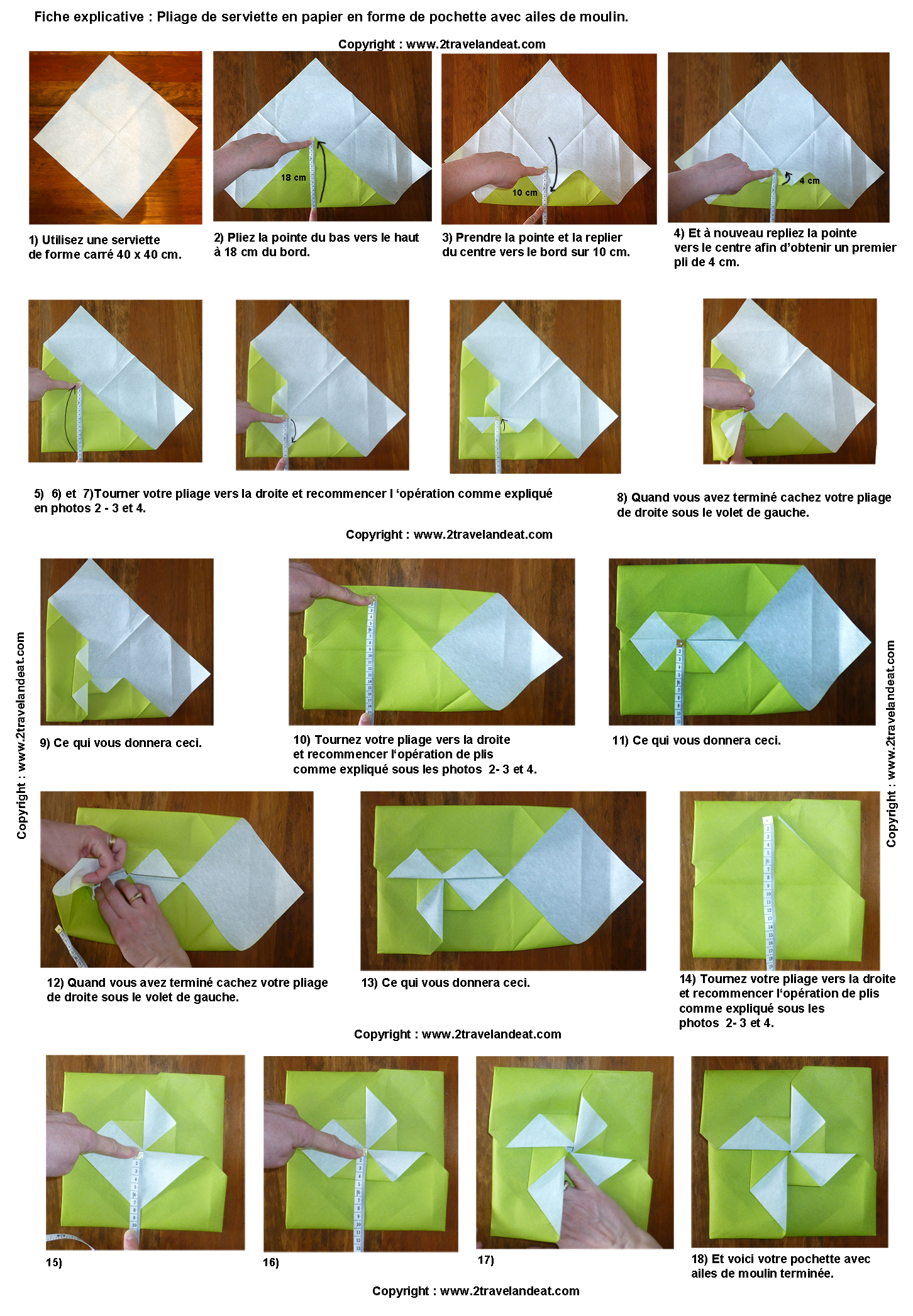 Pliage serviettes on pinterest origami cuisine and folding napkins - Plier serviette de table ...