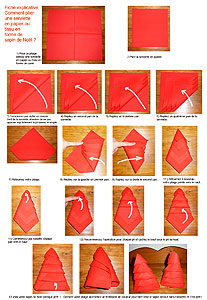 Pliage de serviettes de table en papier pliage de papier origami deocration de table plier for Pliage serviette de noel facile
