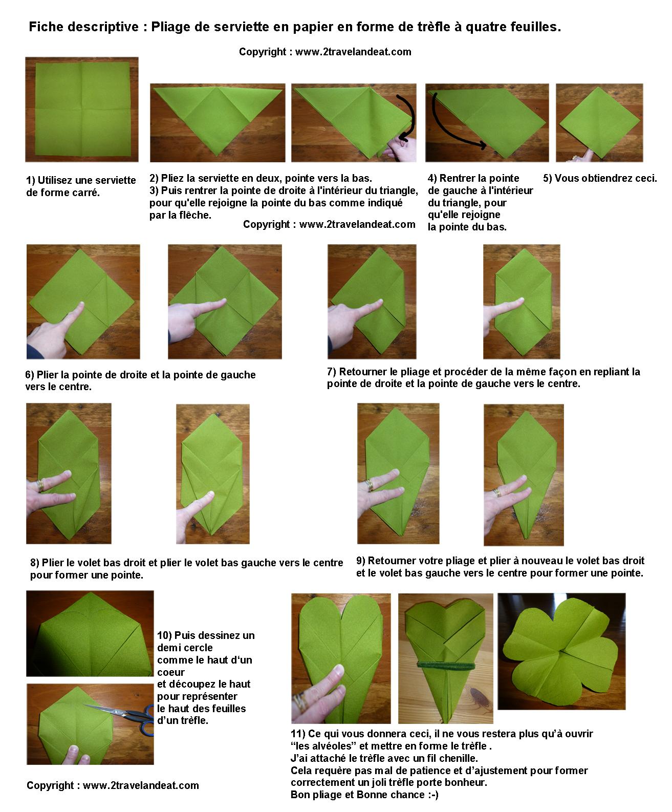 Pliage de serviette de table en forme de tr fle quatre feuilles plier une - Pliage de serviette en papier feuille ...