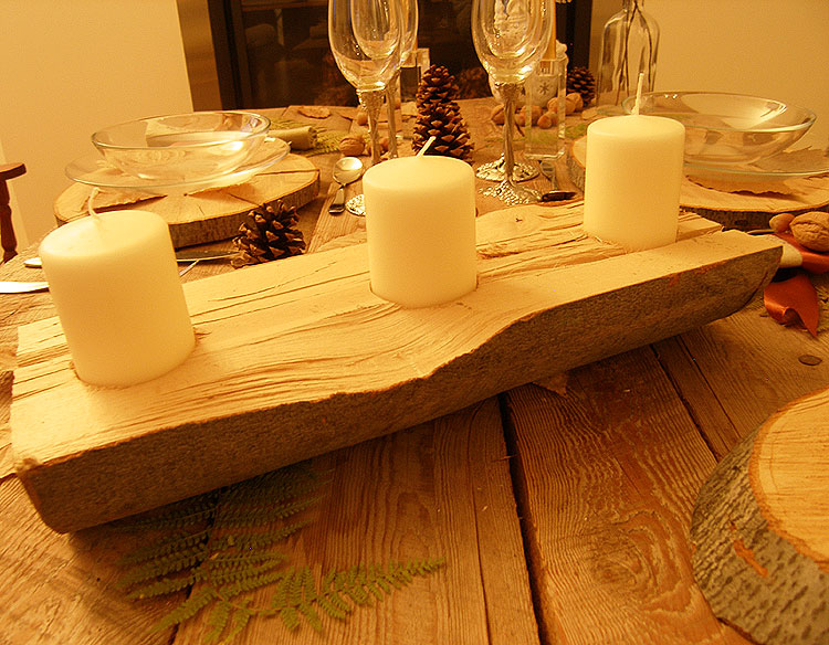 Decoration de noel buche en bois - Decoration de table en bois ...