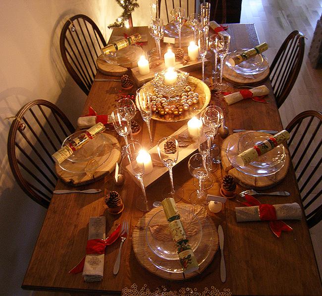 decoration table de noel rustique. Black Bedroom Furniture Sets. Home Design Ideas